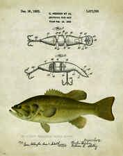 Fishing Lure Patent Poster Art Print Antique Largemouth Bass Heddon Fish PAT209