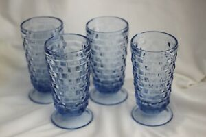 VINTAGE ICE BLUE INDIANA  WHITEHALL FOOTED ICE TEA TUMBLERS BY COLONY SET/4 EXL