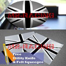 *Black/White Union Jack UK Flag Vinyl Stickers For Mini Cooper Side Mirrors Film