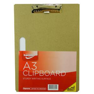 A4 / A3 Wooden Clip Board With Chrome Clip Heavy Duty Hard Clipboard