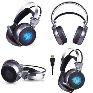 Audifonos Gamer Gaming PC Para Hombre Computadora Luz LED Sonido Envolvente