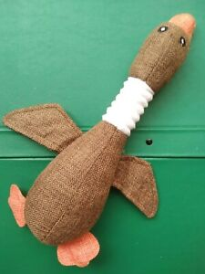 WILD GOOSE SQUEAKY DOG TOY 30cm LINEN CANVAS SOFT TOY FILLED WITH STUFFING