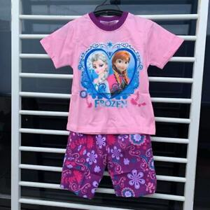 2-10 Years Girls Frozen Sleepwear Short Sleeve Pyjamas Set Summer Kids Pajama
