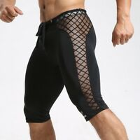 Men Mesh Fitness Shorts Boxer Trunks Gym Panties Tights Splice Jogging Training