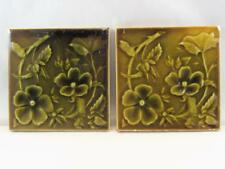 (2) Antique International Tile Co. Brooklyn, NY Floral Raised Majolica 1880s ITC