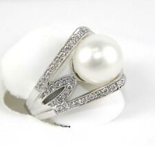 Huge South Sea Pearl Solitaire Ring w/Diamond E Accents 14k White Gold 11mm