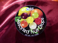 Vintage BLUE BIRD Assorted Fruit Drops SWEETS Round TIN - Advertising Storage