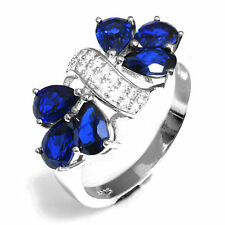 2.8ct Luxury Sapphire & Cubic Zirconia Pure Sterling Silver Cocktail Ring Size 7