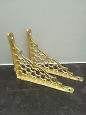 "Pair Small Brass Cast Iron Honeycomb Shelf Brackets 6""x 5""  Antique Free Post"