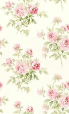 Dollhouse Miniature Shabby Chic Wallpaper Pink Roses Pink FLowers Floral 1:12