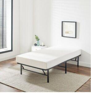 Twin Size Bed Platform Folding Steel Base Bed Frame Portable Powder Coated Black