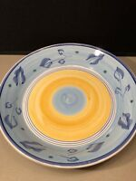 "Vintage Caleca Sorrento 14"" Pasta Serving Bowl Made In Italy Blue Yellow"