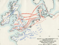 Antique Map Of Celtic & Germanic Immigration To Great Britain & Ireland 1903