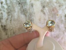 Stunning!Natural Aquamarine and Diamond 14K Gold& SterlingOmega Back Earrings
