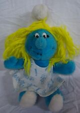 "1981  VINTAGE The Smurfs SMURFETTE SMURF 10"" Plush STUFFED ANIMAL Toy"