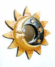 Colgante De Pared Arte Espejo Sun Moon Stars Diseño Oriental Estilo Decoración De Madera