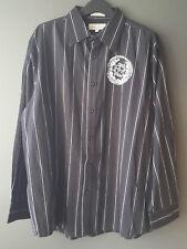 Eighty Eight Men's Size XL Black Casual Cotton Button Down Shirt White Striped