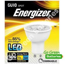 1x Energizer GU10 5.7W = 50W LED Bulb Spotlight 345 Lumens Dimmable High Power