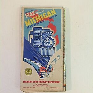 Vintage Color 1942 Official Winter Michigan Highway Map State Dep't Travel Sport