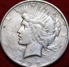 "Scarce 1925-s  SAN FRANCISCO MINT PEACE SILVER DOLLAR COIN, w/ Small ""S"" AU COIN"