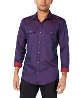 INC Mens Shirt Purple Size Medium M Long Sleeve Dual Pocket Button Up $49 #193