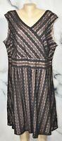 DRESSBARN Black Stripe Lace Over Nude Lining Sleeveless Dress 24W Below Knee