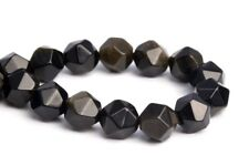 8MM Black Golden Obsidian Star Cut Faceted AAA Genuine Natural Loose Beads 7.5""