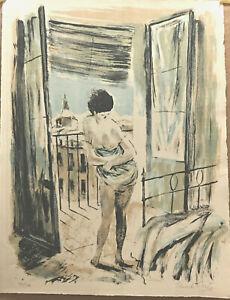 EDUARDO VICENTE- LA MAÑANA  -SIGNED - NUMBERED -VINTAGE STONE LITHOGRAPH-1963