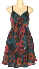 FIRE OF LA Floral Print Tie Sash V-Neck Knee Length Sundress Dress Junior Sz M