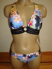 New Jag Women's 2 Piece Swimsuit Palm Pilot Tropical Floral Retro Top/Bottom S