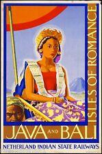 Java & Bali - Isles of Romance Vintage India Travel Advertisement Poster Art