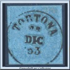 1853 Antichi Stati Sardegna cent. 20 azzurro n. 5 Usato