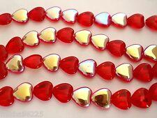 25 10x10 mm Czech Glass Heart Beads: Light Siam/Ruby AB