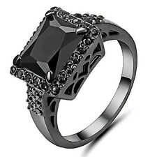 Black Zirconia Garnet Big Stone Wedding Ring 18K black gold filled Jewelry Size6