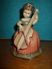 """Vintage Reuge Music Box Swiss Wood Carving Girl w/ Cello - Plays """"Born Free"""" JK1"""