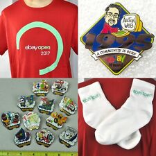 Ebay Open Live 2004-2017 Lapel Pins T-Shirt 2XL Embroidered Socks 14 Item Bundle