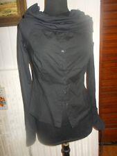 Chemisier coton noir stretch col souple montant LA FEE MARABOUTEE petit 42 ou 40