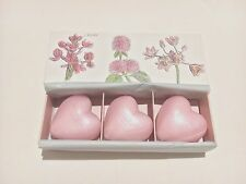 """NEW CRABTREE & EVELYN """" ROSEWATER """" 3 PCS TRIPLE MILLED HEART SHAPED SOAP SET"""