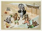 Louis Wain print CATS AT THE BEACH funny cat illustration art