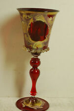 Blown wine glass made from 7 pieces, ruby red with enameling, 18th-19th century