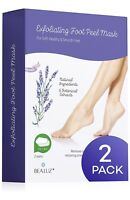 New - Bealuz Exfoliating Foot Peel Mask - Soft Smooth Feet - 2 Pairs Total