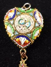 VINTAGE ITALIAN MICRO MOSAIC HEART PENDANT WITH HANGING TEAR- VERY FINE WORK