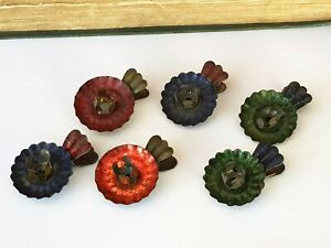 Antique-Victorian-Set Of x6 Clip On Christmas Tree Candle Stick Holders-c1880s