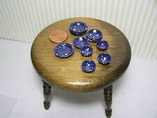Miniature Dollhouse Blue Splatterware Plates-Bowls/12Pc