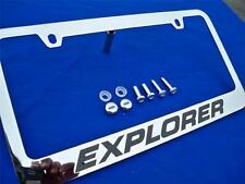 1991-2015 Explorer Chromed Metal License Plate Frame With Ford Logo Screw Caps