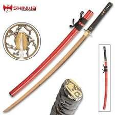 BATTLE READY Samurai Gold Japanese Katana Sword Full Tang Carbon Steel Blade