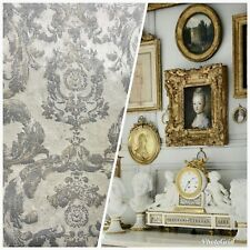 SWATCH Antique Inspired Burnout Velvet Damask Fabric - White W/ Silver & Gray