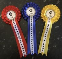2 Tier 1st - 3rd Dog Show Rosettes with Printed Tail *FREE 1st CLASS POST*