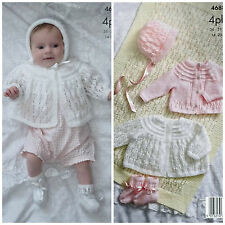 KNITTING PATTERN Baby Blanket Cardigan Matinee Jacket Bootees & Hat 4ply 4688
