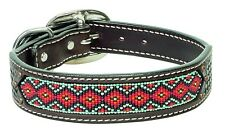 "Weaver Leather Beaded Basket Weave Dog Collar with Antique Spots, 1"" by 25"""